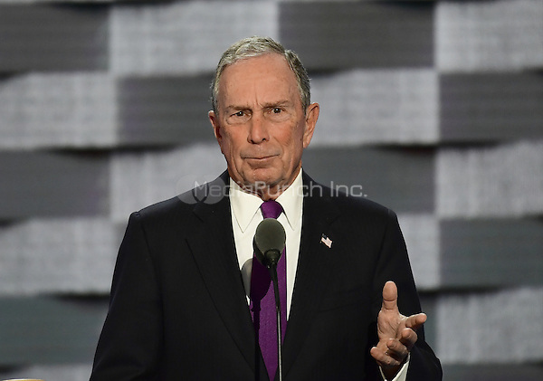 Former Mayor of New York City Michael Bloomberg makes remarks during the third session of the 2016 Democratic National Convention at the Wells Fargo Center in Philadelphia, Pennsylvania on Wednesday, July 27, 2016.<br /> Credit: Ron Sachs / CNP/MediaPunch<br /> (RESTRICTION: NO New York or New Jersey Newspapers or newspapers within a 75 mile radius of New York City)