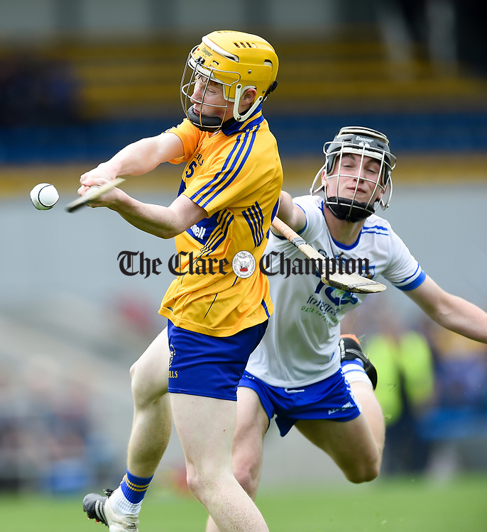 Shane Meehan of Clare in action against Jack O Floinn of Waterford during their Munster  championship round robin game at Cusack Park Photograph by John Kelly.