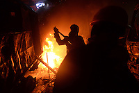 Molotov cocktails are thrown against the riot police during the   protest against new draconian law to ban the right to  protest across the country.  Kiev. Ukraine