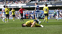 Blackburn Rovers' Lewis Travis after being brought down by Queens Park Rangers' Josh Scowen to earn his side a first half penalty<br /> <br /> Photographer Rob Newell/CameraSport<br /> <br /> The EFL Sky Bet Championship - Queens Park Rangers v Blackburn Rovers - Friday 19th April 2019 - Loftus Road - London<br /> <br /> World Copyright © 2019 CameraSport. All rights reserved. 43 Linden Ave. Countesthorpe. Leicester. England. LE8 5PG - Tel: +44 (0) 116 277 4147 - admin@camerasport.com - www.camerasport.com