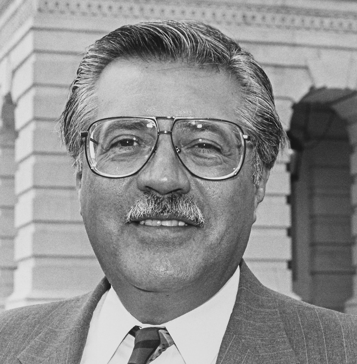 Close-up of Rep. Ed Pastor, D-Ariz., on May 11, 1992. (Photo by Chris Ayers/CQ Roll Call via Getty Images)