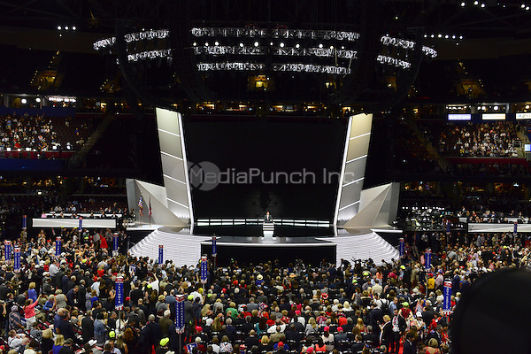 Eric Trump makes remarks at the 2016 Republican National Convention held at the Quicken Loans Arena in Cleveland, Ohio on Wednesday, July 20, 2016.<br /> Credit: Ron Sachs / CNP/MediaPunch<br /> (RESTRICTION: NO New York or New Jersey Newspapers or newspapers within a 75 mile radius of New York City)