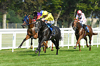 Winner of The AJN Steelstock Cecilia Hall Handicap Itkaann r(yellow) idden by David Probert and trained by Owen Burrows during Horse Racing at Salisbury Racecourse on 9th August 2020
