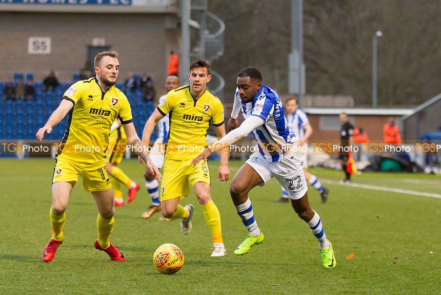 Kane Vincent Young of Colchester United tries to get behind the Cheltenham defence during Colchester United vs Cheltenham Town, Sky Bet EFL League 2 Football at the Weston Homes Community Stadium on 6th January 2018