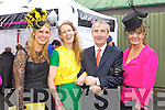 Lorraine Scannell-Byrne, Sarah Tobin and Karyn Moriarty Tralee Pictured with Gay Mitchell at Listowel Races on Friday.