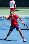 SURPRISE, AZ - MAY 12: Alvaro Regalado and doubles partner Zach Whaanga, not shown, of the Columbus State Cougars celebrates a point against Fernando Tous and Filip Zupancic of the Barry Buccaneers during the Division II Men's Tennis Championship held at the Surprise Tennis & Racquet Club on May 12, 2018 in Surprise, Arizona. (Photo by Jack Dempsey/NCAA Photos via Getty Images)