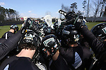 12 February 2017: Cleveland State players huddle. The Duke University Blue Devils hosted the Cleveland State University Vikings at Koskinen Stadium in Durham, North Carolina in a 2017 Division I College Men's Lacrosse match. Duke won the game 22-7 in overtime.