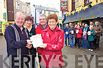 WALK OFF THE CHRISTMAS DINNER: The annual sponsored St. Stephen's Day walk for the Kerry Hospice Foundation was launched at Kirby's Brogue Inn, Tralee on Monday morning. Pictured from l-r were: Micheal 'Fox' O'Connor, Fiona Kirby, Ted Moynihan and Sheila O'Sullivan.