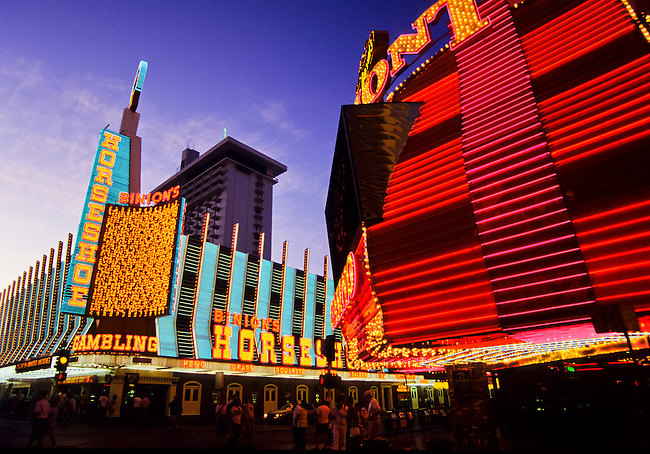 Horseshoe Casino and Neonlights in Las Vegas gambling city in Nevada, USA
