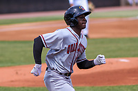 Quad Cities River Bandits outfielder Daz Cameron (16) races to first base during a Midwest League game against the Wisconsin Timber Rattlers on April 9, 2017 at Fox Cities Stadium in Appleton, Wisconsin.  Quad Cities defeated Wisconsin 17-11. (Brad Krause/Four Seam Images)
