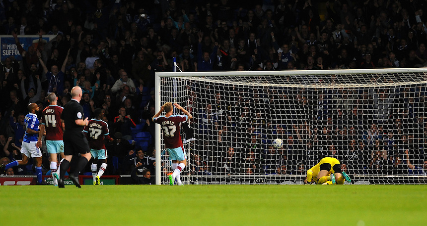Burnley's Thomas Heaton is left on his knees after Ipswich Town's Freddie Sears opens the scoring<br /> <br /> Photographer Ashley Pickering/CameraSport<br /> <br /> Football - The Football League Sky Bet Championship - Ipswich Town v Burnley - Tuesday 18th August 2015 - Portman Road - Ipswich<br /> <br /> &copy; CameraSport - 43 Linden Ave. Countesthorpe. Leicester. England. LE8 5PG - Tel: +44 (0) 116 277 4147 - admin@camerasport.com - www.camerasport.com
