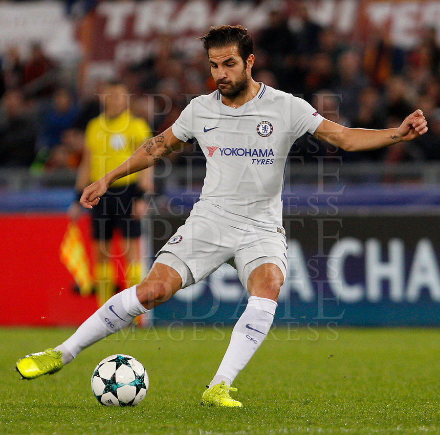Chelsea s Cesc Fabregas in action during the Champions League Group C soccer match between Roma and Chelsea at Rome's Olympic stadium, October 31, 2017.<br /> UPDATE IMAGES PRESS/Riccardo De Luca