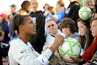 Los Angeles Sol goalkeeper Karina LeBlanc (23) signs autographs for fans after the game. The Los Angeles Sol defeated Sky Blue FC 2-0 during a Women's Professional Soccer match at TD Bank Ballpark in Bridgewater, NJ, on April 5, 2009. Photo by Howard C. Smith/isiphotos.com