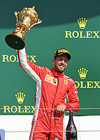 SEBASTIAN VETTEL (GER) of Scuderia Ferrari celebrates on the podium during The Formula 1 2018 Rolex British Grand Prix at Silverstone Circuit, Northampton, England on 8 July 2018. Photo by Vince  Mignott.