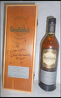 BNPS.co.uk (01202 558833)<br /> Pic: ChaucerAuctions/BNPS<br /> <br /> ***Please Use Full Byline***<br /> <br /> FYI: 1976 Concorde Glenfiddich Whisky Bottle 3. A single cask bottling of 1976 vintage Glenfiddich. This was the second private vintage to be released by the distillery and was bottled exclusively for Concorde flights in 2002, just a year before the fleet was retired. The case is signed by Mike Banister and indeed the winning bidder could also have the bottle itself personally autographed.<br /> <br /> Legendary airline pilot Mike Bannister is selling 100,000 pounds worth of his Concorde memorabilia so he can fund his daughter through flying school.<br /> <br /> Amy Bannister, 20, is hoping to following in her father's jet-stream to become a commercial airline pilot and is currently at a flight training school in Spain.<br /> <br /> The prestigious course is costing her a six figure sum.<br /> <br /> Her father Mike, 65, didn't want her burdened with debt at the start of her career and so stripped his study of Concorde relics, including cockpit instruments, and has put them up for sale at auction.