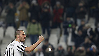 Juventus' Leonardo Bonucci celebrates at the end of the Italian Serie A football match between Juventus and Roma at Juventus Stadium. Juventus won 1-0.
