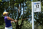 HOUSTON, TX - MAY 12: Tracey Kim of Williams College tees off on the No. 12 hold during the Division III Women's Golf Championship held at Bay Oaks Country Club on May 12, 2017 in Houston, Texas. (Photo by Rudy Gonzalez/NCAA Photos/NCAA Photos via Getty Images)