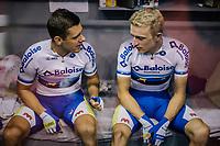 Kenny De Ketele (BEL/SportVlaanderen-Baloise) &amp; Robbe Ghys' (BEL/SportVlaanderen-Baloise) in their bunk<br /> <br /> Lotto 6daagse Vlaanderen-Gent 2018 / Gent6<br /> day 5