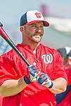 5 March 2015: Washington Nationals infielder Dan Uggla awaits his turn in the batting cage prior to a Spring Training game against the New York Mets at Space Coast Stadium in Viera, Florida. The Nationals rallied to defeat the Mets 5-4 in Grapefruit League play. Mandatory Credit: Ed Wolfstein Photo *** RAW (NEF) Image File Available ***