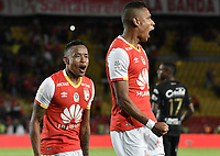 BOGOTÁ - COLOMBIA, 30-07-2017: William Tesillo (Der) jugador de Santa Fe celebra después de anotar el tercer gol de su equipo al Once durante el encuentro entre Independiente Santa Fe y Once Caldas por la fecha 5 de la Liga Aguila II 2017 jugado en el estadio Nemesio Camacho El Campin de la ciudad de Bogota. / William Tesillo player of Santa Fe celebrates after scoring the third goal of hisa team to Once during match between Independiente Santa Fe and Once Caldas for the date 5 of the Aguila League II 2017 played at the Nemesio Camacho El Campin Stadium in Bogota city. Photo: VizzorImage/ Gabriel Aponte / Staff
