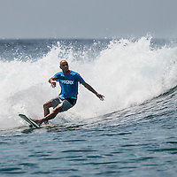 Four Seasons,Kuda Huraa, Maldives (Monday, August 3, 2015) Shane Dorian (HAW) riding a Twin Fin. The swell was out of the South East today with waves in the 2'-3' range and  clean conditions. There was a surf session at Honkeys this morning with Neco Padaratz (BRA) and Shane Dorian (HAW), competitors in the Four Seasons Maldives Surfing Champions Trophy using the session s a warm up. There was very a light West South West wind with very good conditions. <br /> There was also a session at Ninjas in the afternoon.  Photo: joliphotos.com