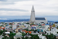 The city of Reykjavik at midnight, Iceland