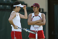 STANFORD, CA - JANUARY 30:  Veronica Li and Jennifer Yen of the Stanford Cardinal during Stanford's 6-1 win over the Colorado Buffaloes in the ITA Indoor Qualifying on January 30, 2009 at the Taube Family Tennis Stadium in Stanford, California.