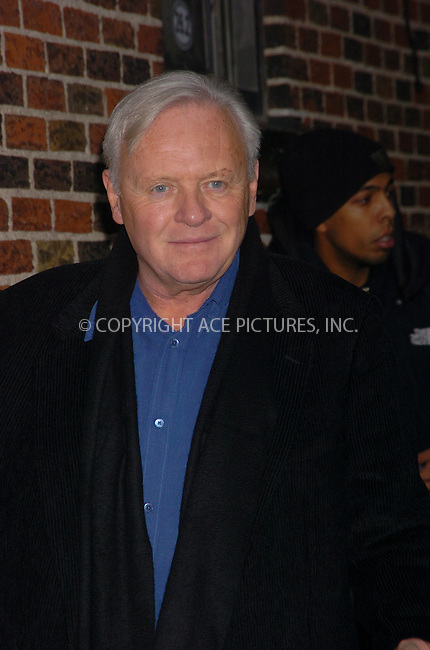 WWW.ACEPIXS.COM . . . . .  ....January 23 2006, New York City....British actor Anthony Hopkins made an appearance on the Late Show with David Letterman.....Please byline: AJ Sokalner - ACEPIXS.COM..... *** ***..Ace Pictures, Inc:  ..Philip Vaughan (212) 243-8787 or (646) 769 0430..e-mail: info@acepixs.com..web: http://www.acepixs.com
