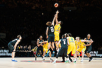 Melbourne, 15 August 2015 - The tip off for game one of the 2015 FIBA Oceania Championships in men's basketball between the Australian Boomers and the New Zealand Tall Blacks at Rod Laver Arena in Melbourne, Australia. Aus def NZ 71-59. (Photo Sydney Low / sydlow.com)
