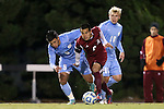 25 November 2012: FDU's Jaeffrey Barrenechea (2) is followed by UNC's Mikey Lopez (5) and Verneri Valimaa (18). The University of North Carolina Tar Heels played the Farleigh Dickinson Knights at Fetzer Field in Chapel Hill, North Carolina in a 2012 NCAA Division I Men's Soccer Tournament third round game. UNC won the game 1-0 in overtime.