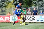 2018-06-30 / Voetbal / Seizoen 2018-2019 / KFC Houtvenne - KVC Westerlo / Ambroise Aboho (l. Westerlo) met Murat Kocak<br /> <br /> ,Foto: Mpics
