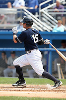 Empire State Yankees first baseman Russell Branyan #15 at bat during a game against the Louisville Bats at Dwyer Stadium on June 12, 2012 in Batavia, New York.  Empire State defeated Louisville 9-7.  (Mike Janes/Four Seam Images)