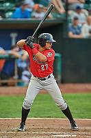 Dylan Harris (27) of the Billings Mustangs bats against the Ogden Raptors at Lindquist Field on August 17, 2018 in Ogden, Utah. Billings defeated Ogden 6-3. (Stephen Smith/Four Seam Images)