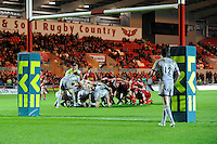 The Scarlets (right) scrum down against Leicester Tigers during the LV= Cup first round match at Parc y Scarlets (Photo by Rob Munro, Fotosports International)
