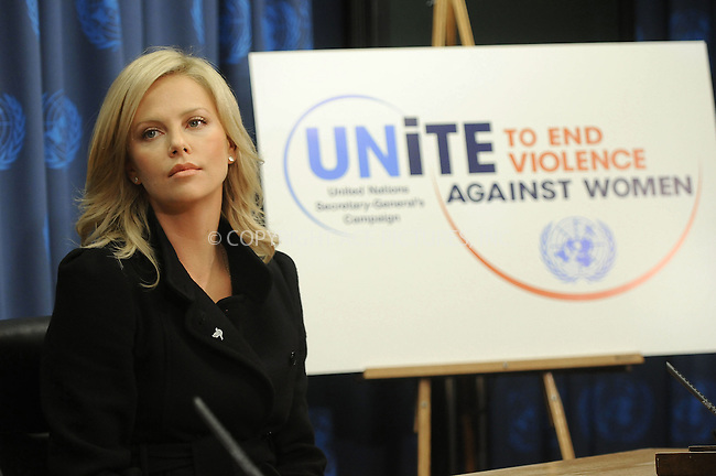 WWW.ACEPIXS.COM . . . . . ....November 17 2008, New York City....Actress Charlize Theron at a press conference following the UN Messenger of Peace induction ceremony at the United Nations on November 17, 2008 in New York City.....Please byline: KRISTIN CALLAHAN - ACEPIXS.COM.. . . . . . ..Ace Pictures, Inc:  ..(646) 769 0430..e-mail: info@acepixs.com..web: http://www.acepixs.com