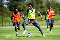Wilfried Bony in action during the Swansea City training session at The Fairwood training Ground, Swansea, Wales, UK. Wednesday 13 September 2017