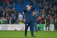Cardiff City manager Neil Warnock does the Ayatollah at full time of the Sky Bet Championship match between Cardiff City and Leeds United at the Cardiff City Stadium, Cardiff, Wales on 26 September 2017. Photo by Mark  Hawkins / PRiME Media Images.
