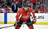 WASHINGTON, DC - FEBRUARY 26: Washington Capitals left wing Alex Ovechkin (8) rests his stick on his knees during the Ottawa Senators vs. Washington Capitals NHL game February 26, 2019 at Capital One Arena in Washington, D.C.. (Photo by Randy Litzinger/Icon Sportswire)