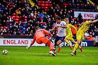 Everton's forward Dominic Calvert-Lewin (9) for England U21's puts England 1-0 up during the International Euro U21 Qualification match between England U21 and Ukraine U21 at Bramall Lane, Sheffield, England on 27 March 2018. Photo by Stephen Buckley / PRiME Media Images.