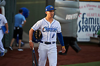 Manny Olloque (8) of the Omaha Storm Chasers before the game against the Round Rock Express at Werner Park on May 27, 2018 in Papillion , Nebraska. Round Rock defeated Omaha 8-3. (Stephen Smith/Four Seam Images)