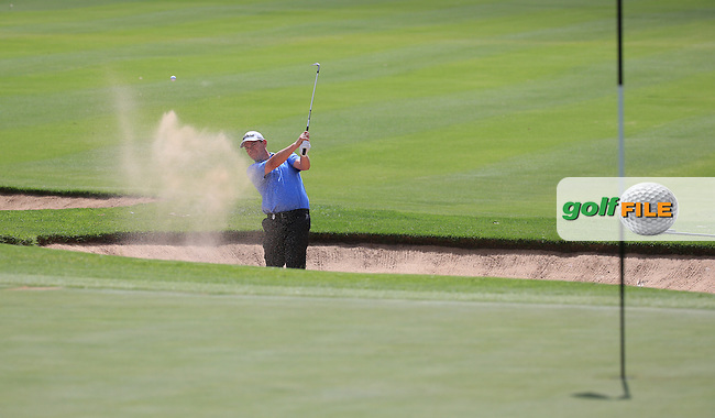 David Drysdale (SCO) out of the bunker on the first during Round Three of the 2016 BMW SA Open hosted by City of Ekurhuleni, played at the Glendower Golf Club, Gauteng, Johannesburg, South Africa.  09/01/2016. Picture: Golffile | David Lloyd<br /> <br /> All photos usage must carry mandatory copyright credit (&copy; Golffile | David Lloyd)