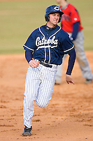 Griffin Wise #22 of the Catawba Indians hustles towards third base versus the Shippensburg Red Raiders on February 14, 2010 in Salisbury, North Carolina.  Photo by Brian Westerholt / Four Seam Images