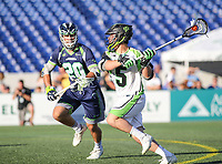 Annapolis, MD - July 7, 2018: New York Lizards Joe LoCascio (5) attempts a shot during the game between New York Lizards and Chesapeake Bayhawks at Navy-Marine Corps Memorial Stadium in Annapolis, MD.   (Photo by Elliott Brown/Media Images International)