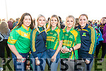 Claire Godley, Mairead O'Mahony, Orla Young, Sarah Collins and Aine Brassil, Kilmoyley supporters, pictured at the senior Hurling replay Kilmoyley v Ballyduff, held in Austin Stack Park, Tralee on Saturday evening last.