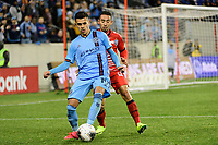 HARRISON, NJ - FEBRUARY 26: Jesus Medina #19 of NYCFC is defended by Jose David Sanchez Cruz #12 of AD San Carlos during a game between AD San Carlos and NYCFC at Red Bull on February 26, 2020 in Harrison, New Jersey.