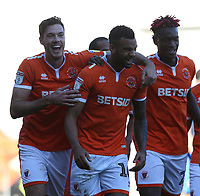 Blackpool's Curtis Tilt (#16) celebrates scoring his side's second goal with team-mate Ben Heneghan (left) <br /> <br /> Photographer Stephen White/CameraSport<br /> <br /> The EFL Sky Bet League One - Blackpool v Rochdale - Saturday 6th October 2018 - Bloomfield Road - Blackpool<br /> <br /> World Copyright &copy; 2018 CameraSport. All rights reserved. 43 Linden Ave. Countesthorpe. Leicester. England. LE8 5PG - Tel: +44 (0) 116 277 4147 - admin@camerasport.com - www.camerasport.com