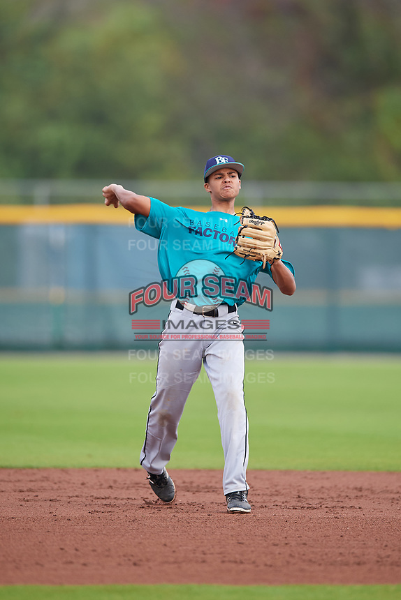 Damian Brown (66) of Quincy, Massachusetts during the Baseball Factory Pirate City Christmas Camp & Tournament on December 29, 2018 at Pirate City in Bradenton, Florida. (Mike Janes/Four Seam Images)
