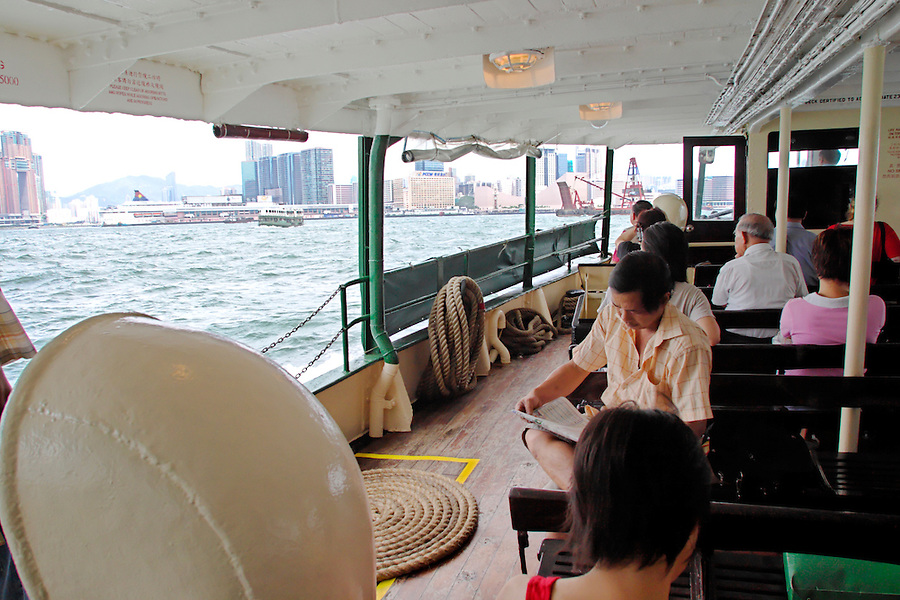 Lower deck of Star Ferry in Victoria Harbour, Hong Kong SAR, China, Asia
