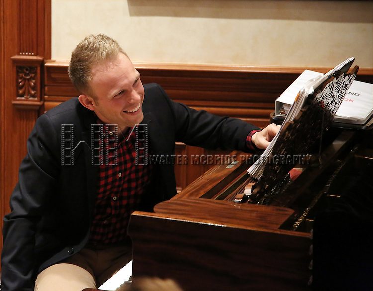 Justin Paul during the Dramatists Guild Fund intimate salon with Benj Pasek and Justin Paul at the home of Kara Unterberg on March 7, 2016 in New York City.