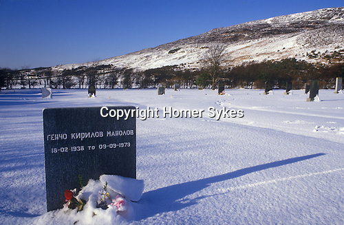 Ullapool Scotland. 1986. The grave stone f a Bulgarian factory fishermen.